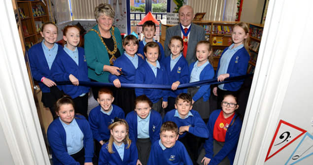 7 February 2018 - Here I am at the re-opening ceremony of Castletown Primary School Library.