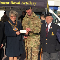 12 February 2018 - Receiving a very generous donation from WO1 Stephen Fraser of the 4 Regiment Royal Artillery Regiment towards the Mayor's Charity Appeal Fund 2017-2018.