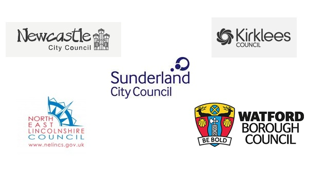 Logo's of Sunderland City Council, Newcastle City Council, North East Lincolnshire Council, Watford Borough Council and Kirklees Council