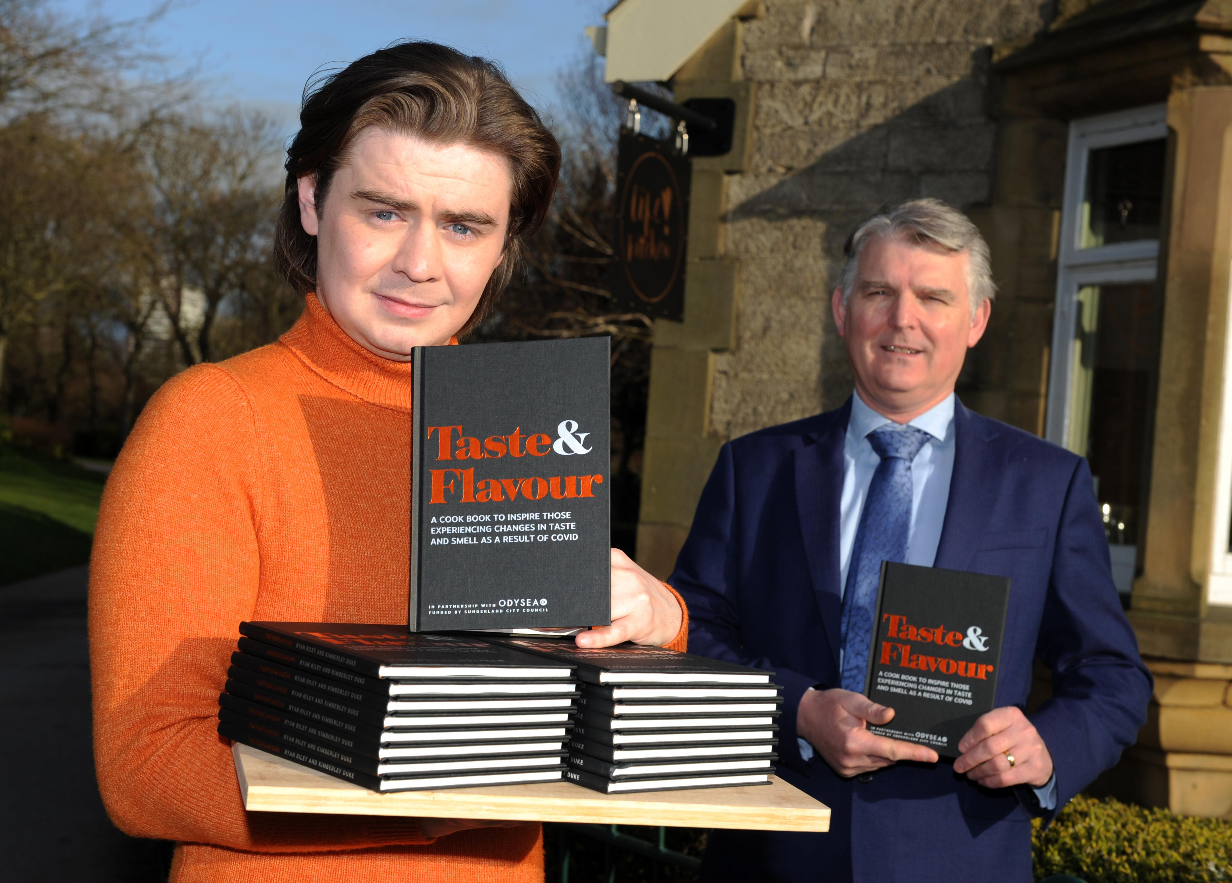 Ryan Riley who set up Life Kitchen with his new book Taste & Flavour and Patrick Melia, Chief Executive of Sunderland City Council
