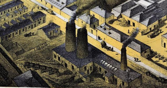 Lambert's 1860's lithograph showing Sunderland Flint Glass Works and excavation area in foreground, view looking south-west