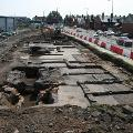 Main excavation area (looking south) with glass cones on left and annealing kiln and store rooms on right