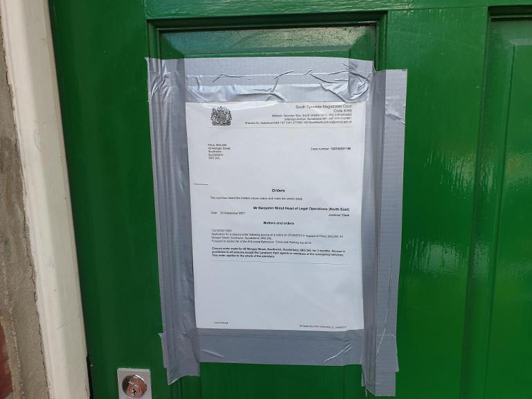 Closure order 42 Morgan St Southwick