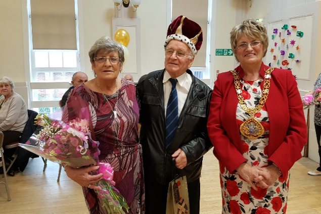 4 October 2017 - Here I am marking the beginning of the Houghton Feast Festival 2017 by crowning the King and Queen of Eventide at Houghton Miners Welfare Hall.