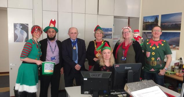 8 December 2017 - Here I am on 'Elf Day' on which raised £283 towards the Mayor's Charty Appeal Fund 2017-18.  Thank you to everyone who took part and donated money.