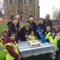 12 January 2018 - Here I am with children from Castle View Academy, Northern Saints and Hylton Castle Primary Schools, as they presented a time capsule to constuction workers to bury at Hylton Castle to mark the official launch of restoration work.