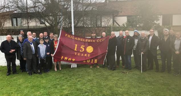 13 January 2018 - Launching the new flag of Philadelphia Cricket Club to celebrate the clubs 150th Anniversary.