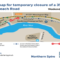 Section of road through Sunderland Enterprise Park set to close during weekend of March 24/25