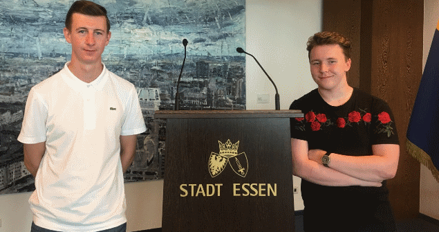 22 August 2018 - Harry Loraine and Mark Stoddart from Southwick Neighbourhood Youth Project visited the Mayor's Parlour. They were among 30 young people at a week-long International Youth Meeting 2018 in the German city of Essen.