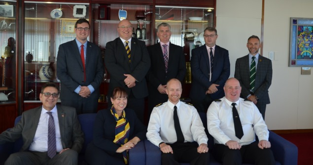 25 September 2018 - There was a civic welcome for an official delegation from Sunderland's new affiliated warship - HMS Anson. The formal affiliation was announced at this year's Armed Forces Day commemoration, by Cllr Michael Mordey