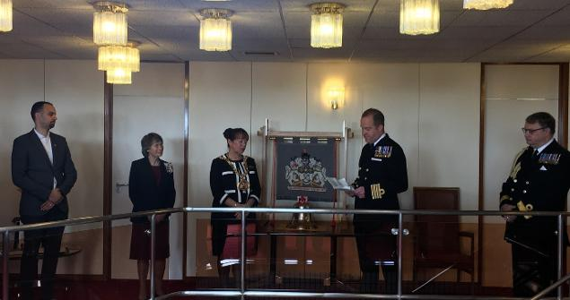 10 May 2019 - I held a civic ceremony to welcome the handing over of the HMS Ocean Bell to Sunderland. Our adopted warship's bell will be on permanent loan from the Royal Navy in the Mayor's Parlour.