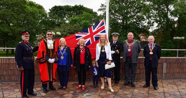 3 September 2019 - I joined the celebrations for Merchant Navy Day by raising the Red Ensign along with Dr Norman Taylor DL, Mayor's from across the region and Captain Stephen Healy of Trinity House, Newcastle.