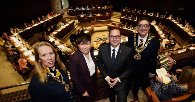 29 November 2019 - we attended the Young Peoples' State of the City Debate in the Council Chamber alongside the Mayor of Essen, Germany who was visiting the city to celebrate 70 years of twinning.